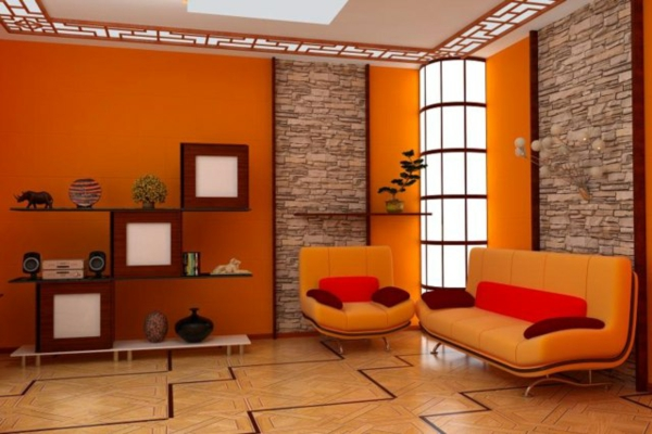 die orange farbe bedeutung wirkung und innendesign. Black Bedroom Furniture Sets. Home Design Ideas