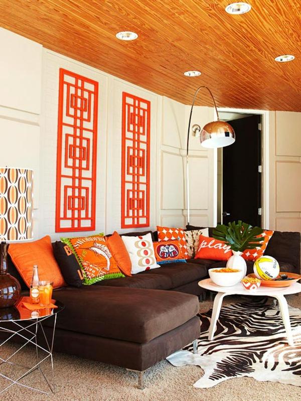 Wohnzimmer farbe orange  Die orange Farbe - Bedeutung, Wirkung und Innendesign