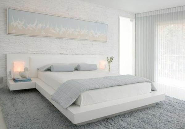 31 Ideen wie Sie eine Backsteinwand hinter Ihrem Bett schmücken.