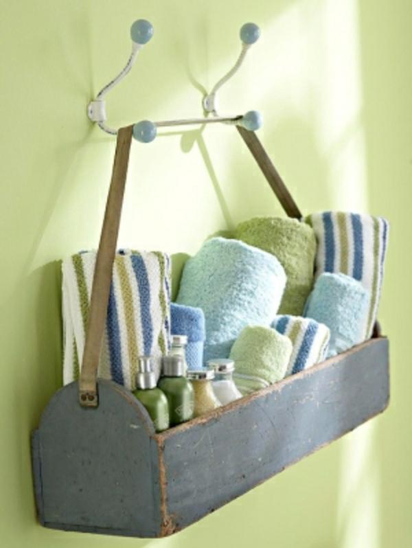 Badezimmer Idee Organisation Deko blauer Wand