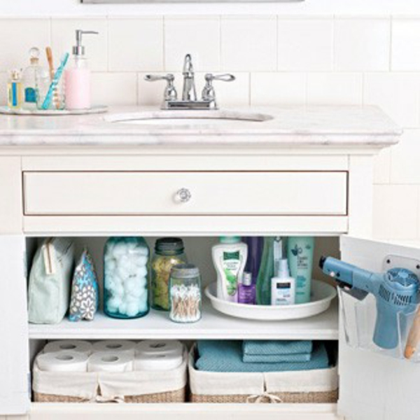 Badezimmer-Organisation-Deko-unten-Waschbecken