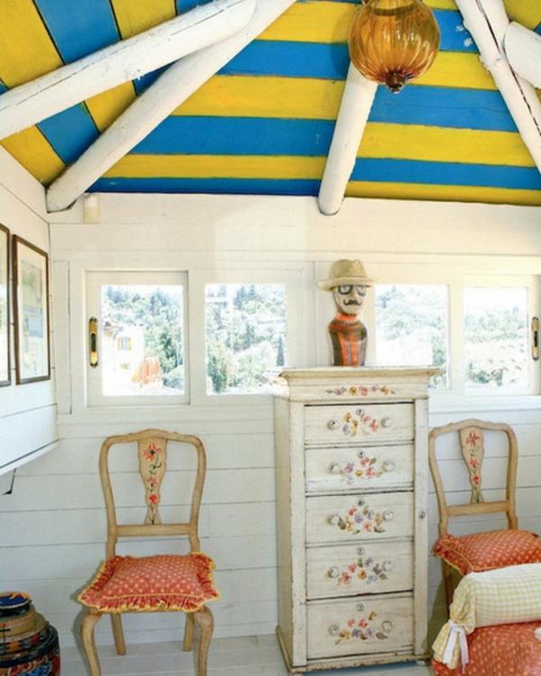Deko Ideen gelb blau schlafzimmer