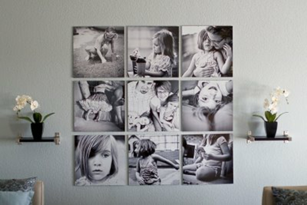 Familienfotos mit Idee in schwarz weiß