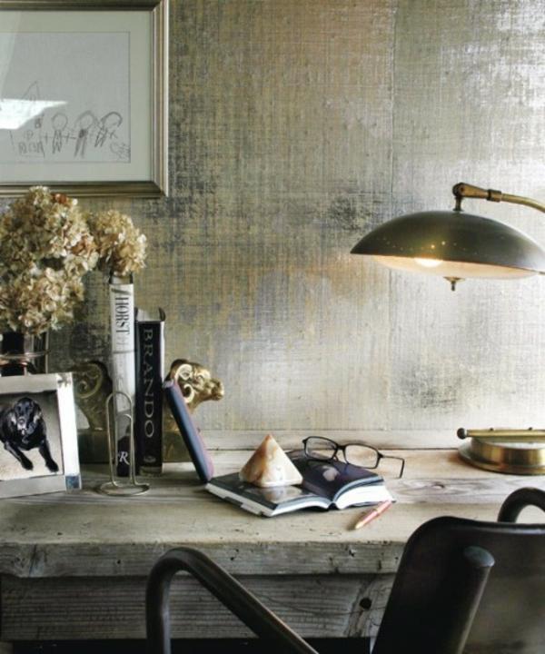 Painting Grasscloth Wallpaper: 20 Ideen , Ihre Wände Glänzend Metallisch Zu Machen