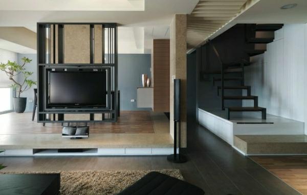 Modernes minimalistisch Interior   Wohnzimmer  und Flur