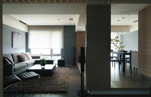 Minimalistisch Design Wohnzimmer und Küche