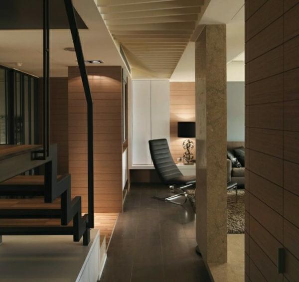 Minimalistisch Design Wohnzimmer und Treppen