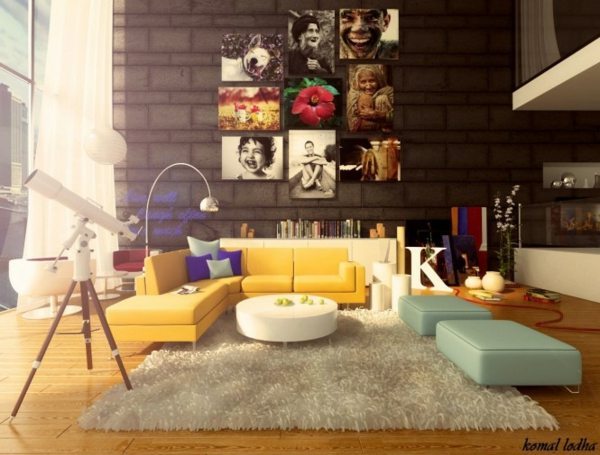 Wohnzimmer farbig