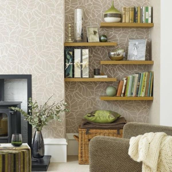 nische wohnzimmer nutzen:Nischen-Regale-Dekoration-zebra-Muster