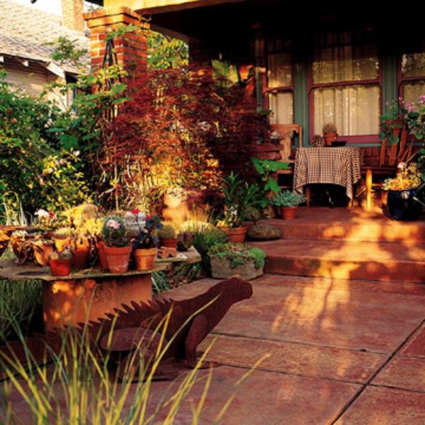 Terrasse Materialien und Designs sonniger