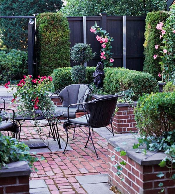 Terrasse Materialien und Designs mit schwarze Fliesen