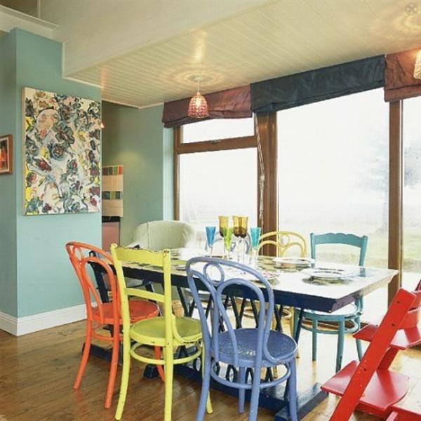 Esstisch stühle bunt  37 Ideen verschiedene Stühle im Esszimmer zu verwenden
