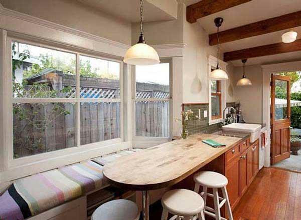 angenehm design gemütlich wohnzimmer holz fenstersitze