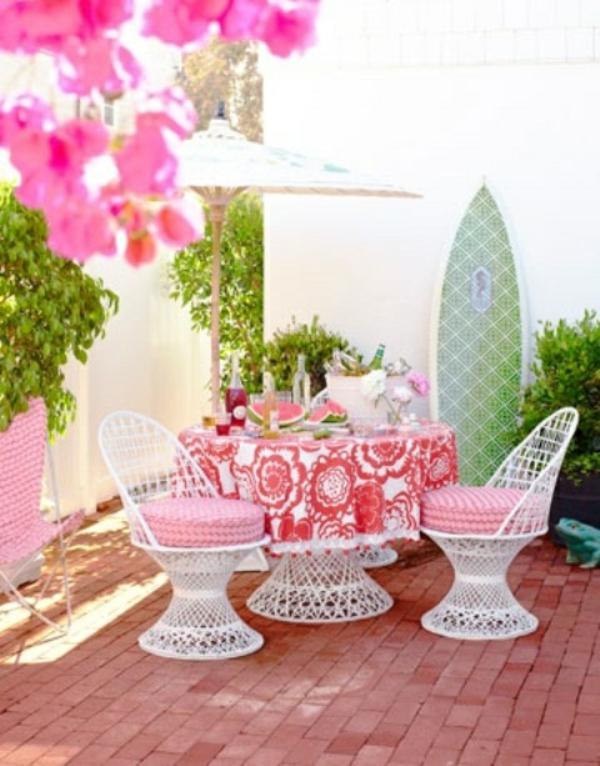 angenehme idee patio design outdoor blumen rosa farbe