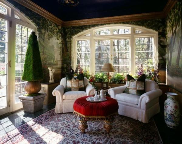 aristokratisches aussehen wintergarten design idee beqeme sessel plüsch tisch