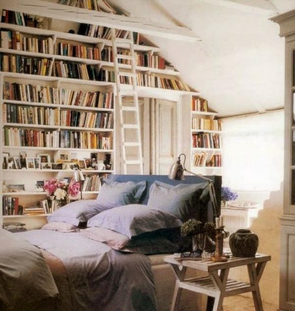 bücher-regale-bett-schlafzimmer, Hause deko