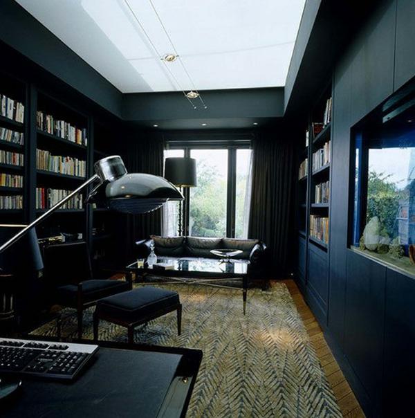 bücherregale schwarze wände design idee extravagant