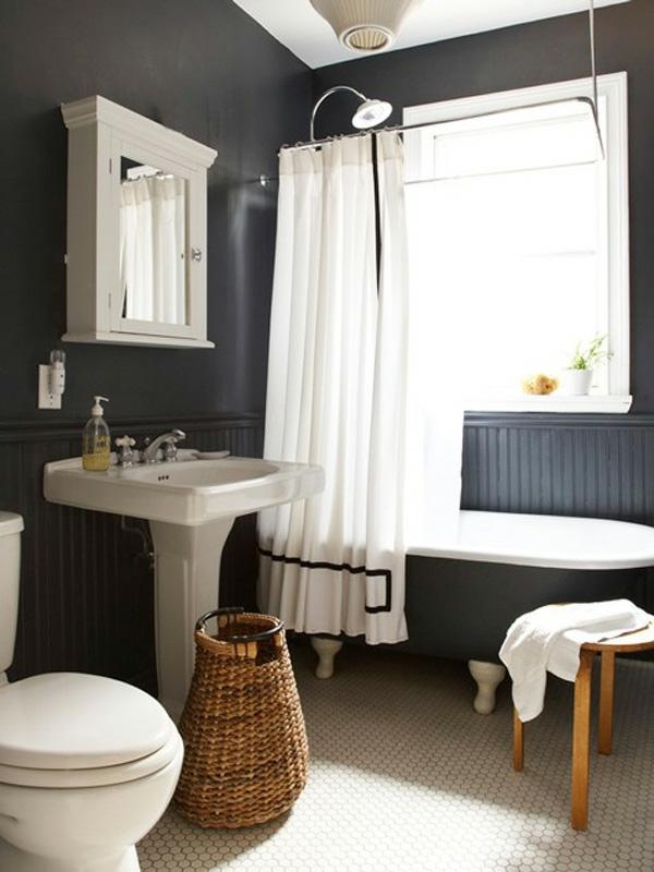 badezimmer idee schwarze ausstattung design badewanne