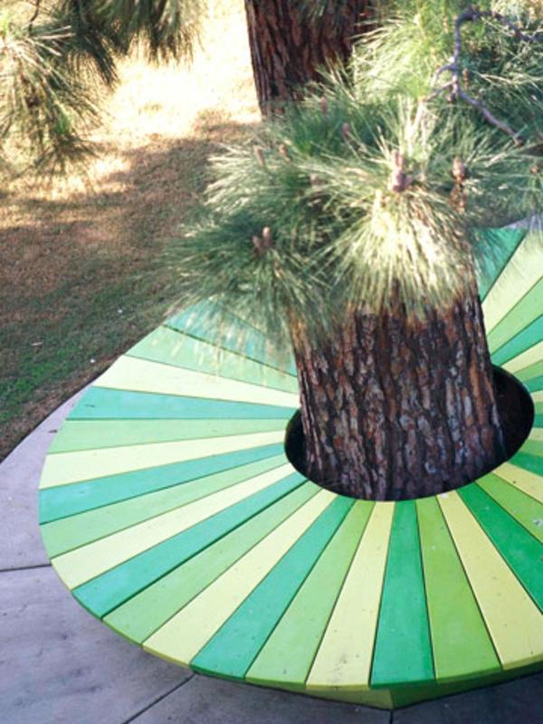 bank grüne farben gartendeko ideen