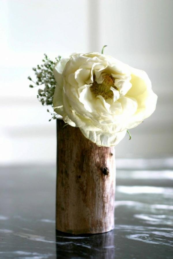 baumstumpf idee dekoration selber machen rose