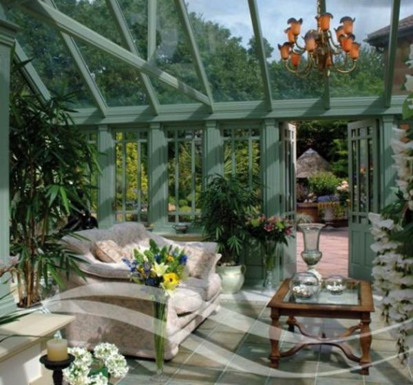 bequem gemütlich wintergarten ideen sofa tisch wohnraum