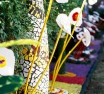 Gartendeko Ideen aus preiswerten Kunststoffen und Materialien