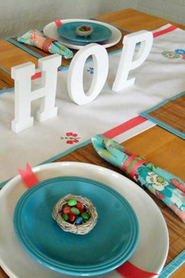 blaue deko ideen für ostern ostereier dekoration hop