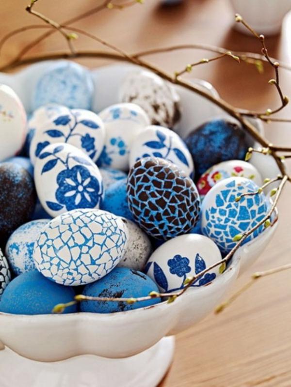 blaue deko ideen für ostern ostereier dekoration tisch festlich