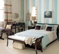 Originelle Wanddekoration: bunte Streifen im Schlafzimmer
