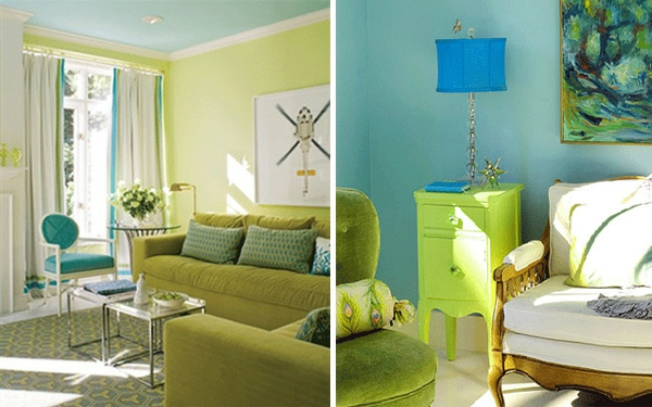 grünes wohnzimmer ideen:Blaue und Grüne Innendesings – originelle, farbenreiche Vorschläge
