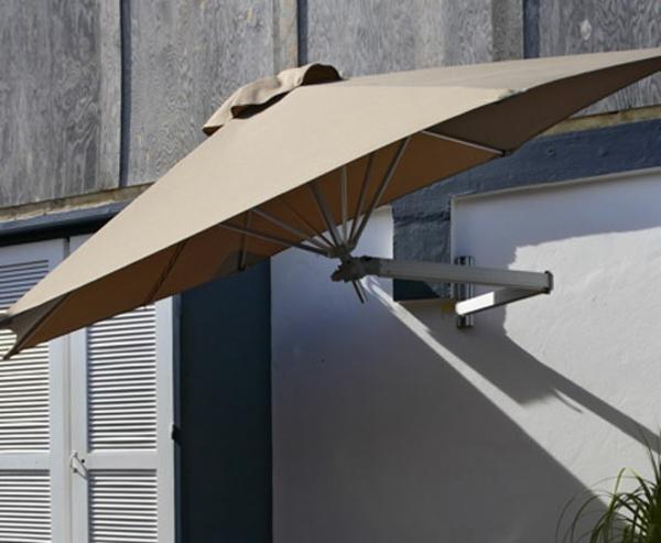 braun dunkel farbe minimalistich schirm sonne montage wand idee