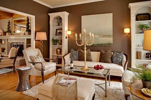 braunes interieur wohnzimmer idee design kerzen