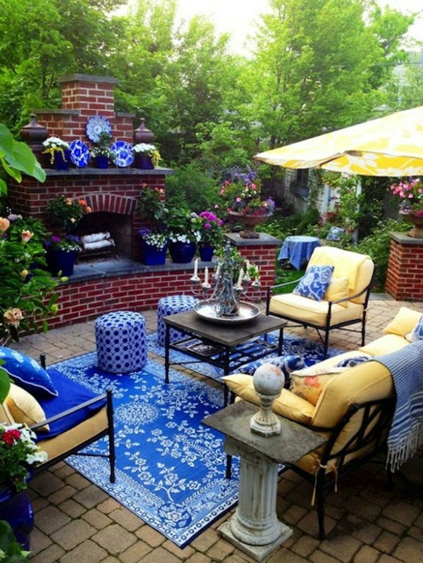 bunt kombination patio design idee gelb blau farben
