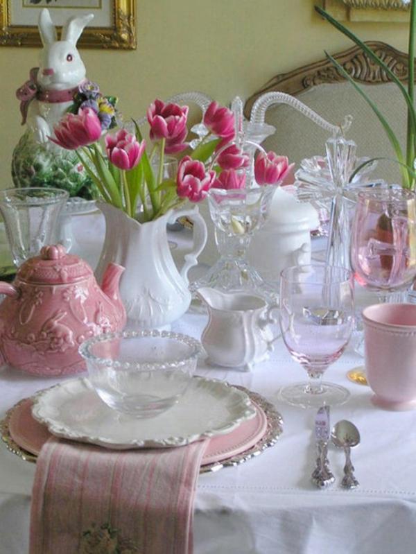 bunt rosa blumen frühling deko kaninchen tulpen