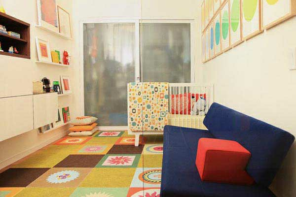 geometrische formen kinderzimmer idee design weisse wände