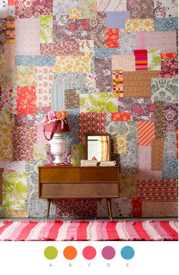Wanddekoration in patchwork stil in der wohnung - Patchwork ideen ...
