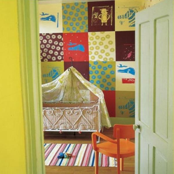 patchwork wandekoration im kinderzimmer
