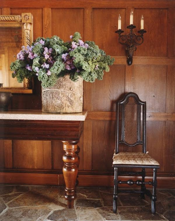 coole deko ideen baum stumpf vase selber dunkel holz möbel