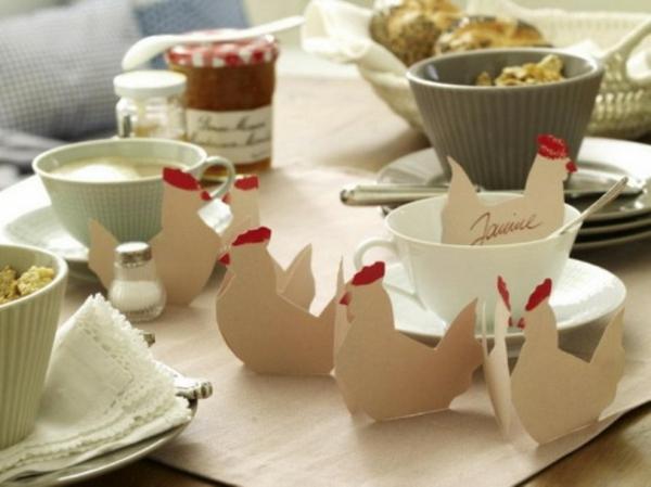 deko ieden für ostern papier hühner tisch dekoration easter