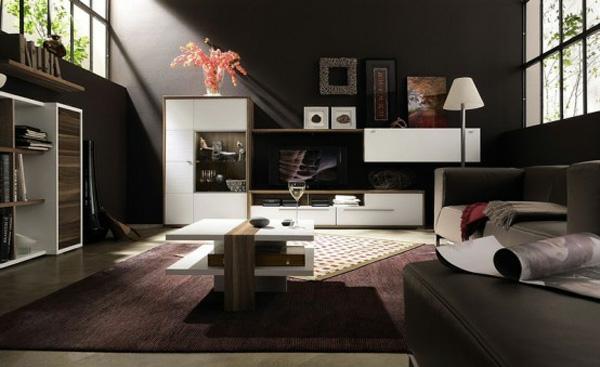 Dunkles Stylishes Interieur Idee Design Wohnzimmer Extravagant