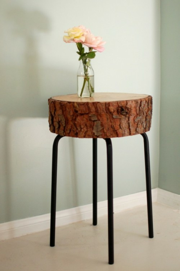 elegant seitentisch kreative Deko Ideen aus Baumstumpf