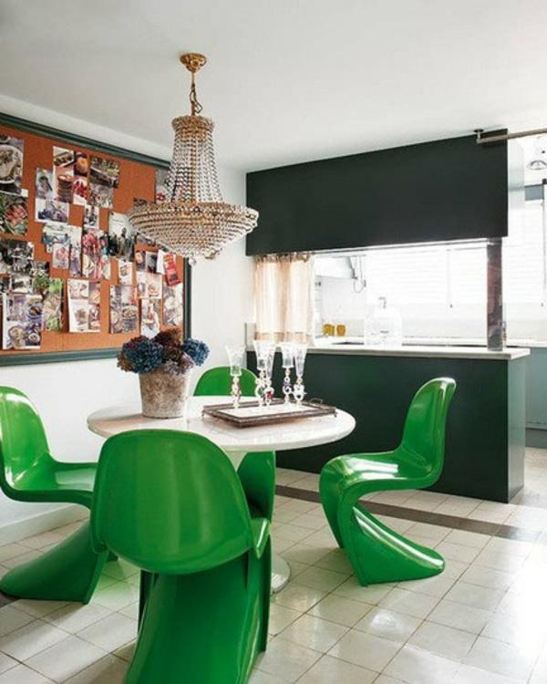 eklektische interieur ideen farben gardinen akrylstuhl