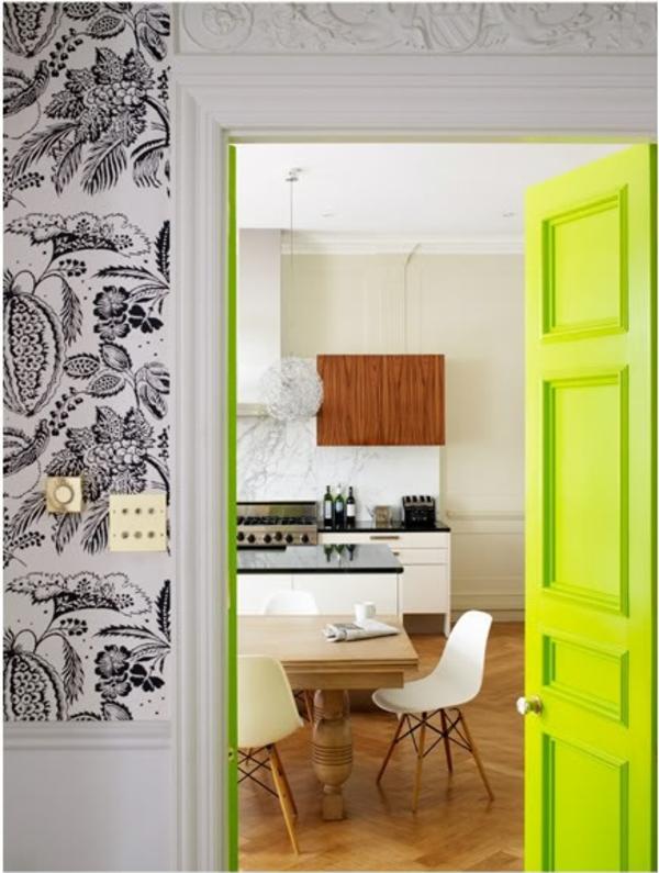 eklektische interieur ideen farben gardinen grün