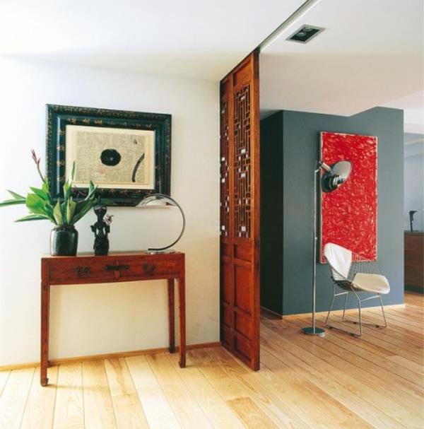eklektische dekoration ideen farben schiebetür