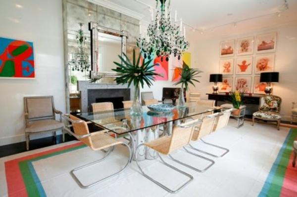 eklektische interieur ideen farben teppich streifen