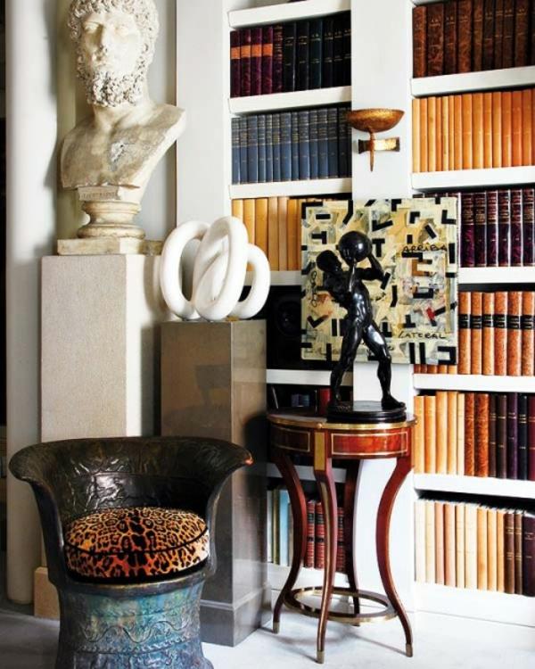 eklektischer stil dekoration design interieur bücherregale