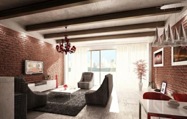 ziegelwand wohnzimmer:Eine interessante Kombination von schwarzen und weißen Einheiten hat