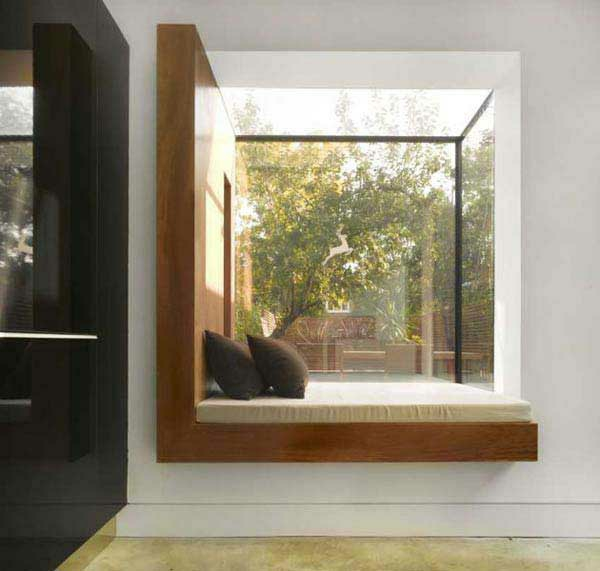 fenstersitze erkerfenster glas ideen ausblick