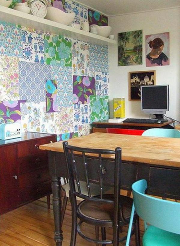 Patchwork Wanddekoration im Wohnzimmer