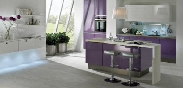 frau weiblich lila kücheninsel designs idee modern